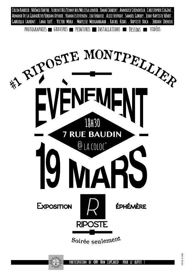Riposte # 1 : Expo d'artistes à Montpellier le 19 mars 2013
